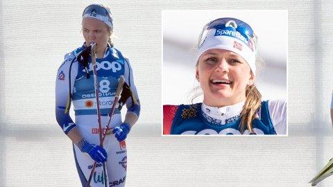 FAVORITTEN SLÅTT UT: Linn Svahn fikk det ikke til å stemme på sprinten i Oberstdorf. Maiken Casperen Falla kunne derimot juble for ny VM-medalje.