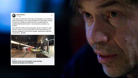 IRONI: Samfunnsdebattant Kjetil Rolness ironiserer over innlegg om arrangement hos medlemsklubbene på østkanten som ble brutt opp av politiet.