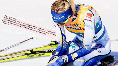 SVENSK NEDTUR: Her er det Frida Karlsson som depper. Også i svensk presse florerer det av skuffelse.