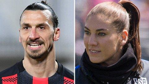 LAR SEG PROVOSERE: Fotball-profil Hope Solo (til høyre) er irritert over uttalelsene til Zlatan Ibrahimovic (venstre)