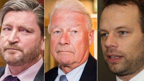 En mulig topptrio for Frp i Oslo: Christian Tybring-Gjedde, Carl I. Hagen, Jon Helgheim. Foto:NTB/Nettavisen