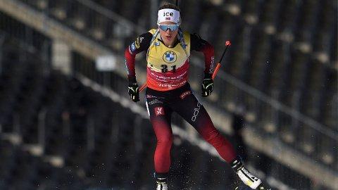 SEIER: Tiril Eckhoff tok sesongens tiende seier under søndagens jaktstart i Nove Mesto.