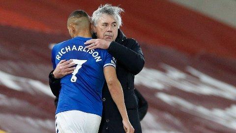 Everton-manager Carlo Ancelotti takker Richarlison for kampen etter seieren mot Liverpool.