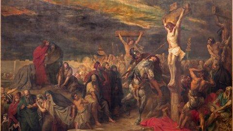 Korsfestelsen. Malt av Jean Francois Portaels (1886).