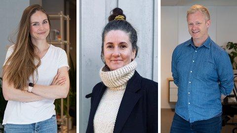 Guro Holmene (i midten) vil være med på satsingen og veksten i Nettavisen og gjør comeback etter noen år i Schibsted. Nå skal hun jobbe med Ingvild Jenhaug Korneliussen og Pål NIsja-Wilhelmsen i avdelingen for innovasjon og forretningsutvikling i Nettavisen.