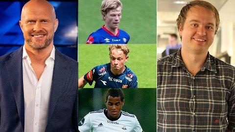 SPENTE EKSPERTER: Joacim Jonsson (t.v) og Petter Bø Tosterud (t.h) er spente på hva Odin Thiago Holm, Sondre Auklend og Emil Konradsen Ceide kan få til i 2021.
