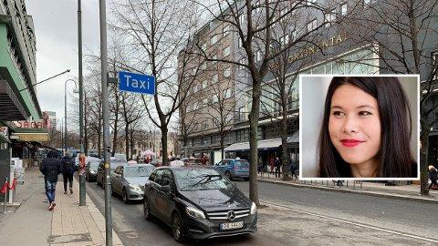 DYRT: For hvert tre som ble felt i denne gaten, kostet det 317.000 kroner for byråd Lan Marie Berg (innfelt).