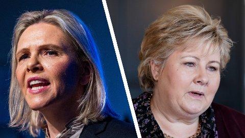 OPP OG NED: Frp-nestleder Sylvi Listhaug, som trolig overtar som partileder, stjeler velgere fra Høyre-leder og statsminister Erna Solberg, som går på en skikkelig smell i Nettavisens marsmåling fra Sentio.