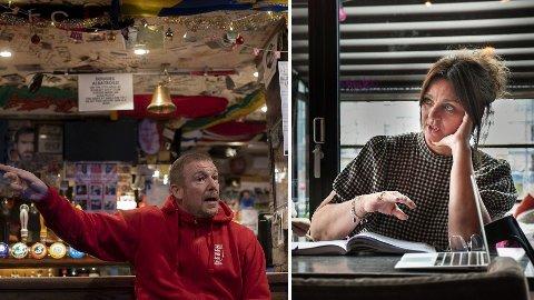 FORBANNA OG FORTVILET: Adrian Douglas (t.v.) har drevet puben Three Lions i Trondheim i 14 år. Han er forbanna på den nasjonale skjenkestoppen.Nina C. Karlsen er eier og daglig leder i Søstrene Karlsen i Trondheim. Hun fortviler etter regjeringens nye koronatiltak.