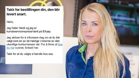 ADVARER: Madeleine Schøyen Bergly i Elkjøp advarer mot svindel-epost som flere mottar i disse dager. Den kommer ikke fra dem.