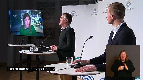 Statsepidemiolog Anders Tegnell på torsdagens pressekonferanse der han bekreftet at vaksinering med AstraZeneca skal gjenopptas.