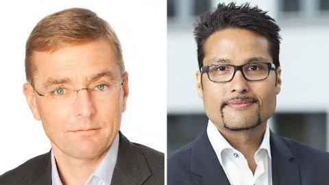 Boligdirektør Arne Baumann (t.v.) i Obos var tidligere styremedlem i Ulven Bolig AS, sammen med Obos-sjef Daniel Siraj.