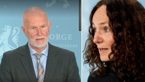 SVARTE: Helsedirektoratet-direktør Bjørn Guldvog og FHI-direktør Camilla Stoltenberg ga svar på tiltale under onsdagens pressekonferanse om gjenåpningen av landet.