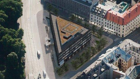 SLIK KAN DET BLI: Denne illustrasjonen viser hvordan USAs tidligere ambassade kan bli seende ut som hovedkontor for eiendoms- og utleieselskapet Fredensborg AS.