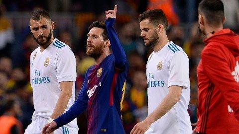 Her jubler Lionel Messi etter å ha scoret mot Real Madrid på Camp Nou 6. mai 2018. Det er sist gang han scoret mot Los Blancos.