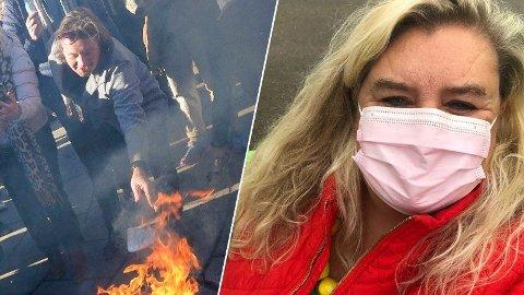 PROVOSERT: Hilde Skovdahl blir både provosert og skuffet over Svein Østvik sin opptreden under demonstrasjonen lørdag.