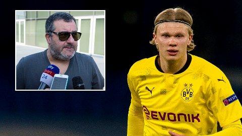 DISKUTERER FREMTIDEN: Mino Raiola jobber med neste steg i Erling Braut Haalands karriere. Dortmund er imidlertid klare på at de vil beholde nordmannen.