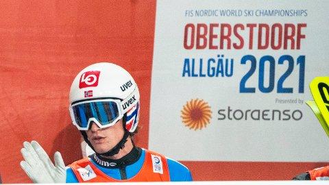 Daniel-André Tande under hopp lag menn i stor bakke under VM på ski i Oberstdorf, Tyskland. Foto: Terje Pedersen / NTB