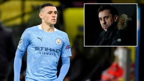 GIR RÅD: Phil Foden skal ha blitt rasende etter kampen mot Dortmund. Nå får han råd av Gary Neville.