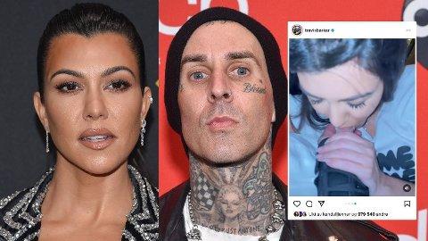 BURSDAGSHILSEN: Travis Barker valgte en noe utradisjonell måte å hylle kjæresten Kourtney Kardashian på bursdagen.