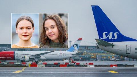 FLYKVOTER: MDG-politikerne Ulrikke Torgersen og Nora Selnæs foreslår kraftige innstramninger for fly i Norge.