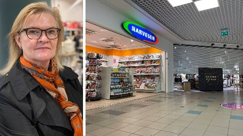 KRITISK: Kjersti Hobøl tror ikke dagens smittetiltak har effekt. Her en åpen Narvesen på Trekanten kjøpesenter i Asker ved siden av en stengt Nille.