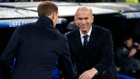 Zinedine Zidane (t.h.) hilser på Thomas Tuchel før Champions League-kampen mot Borussia Dortmund.