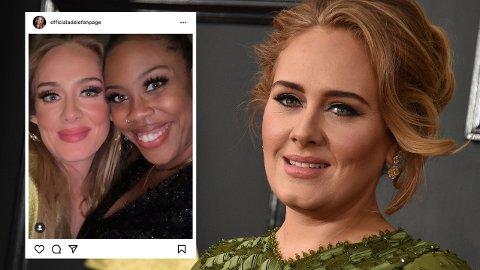 GLEDELIG GJENSYN: Denne selfien av sangstjernen Adele og skuespiller Amber Chardae Robinson får fansen til å juble i sosiale medier.