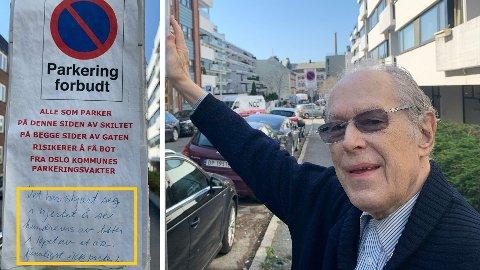 ADVARER: - Ren svindel, sier Leif Evensen, beboer i Grønnegata om parkeringsbøtene fra kommunen. Han har håndskrevet en advarsel til bilister som tror de har parkert lovlig.