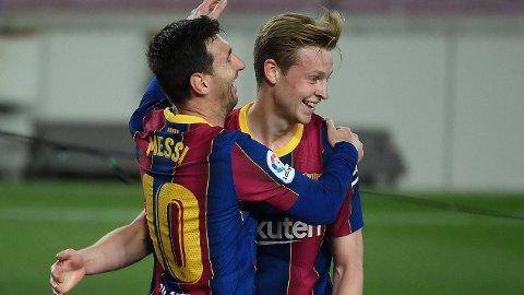 Lionel Messi og Frenkie De Jong får nok grunn til å juble også i kveldens hjemmekamp mot Granada.