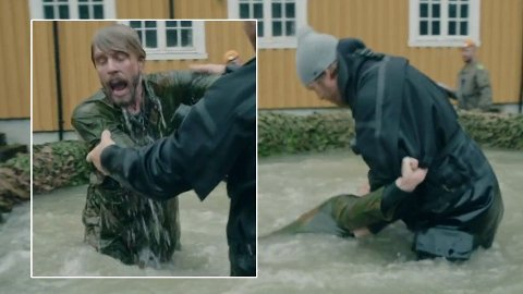 PANIKK: Jakob Schøyen Andersen trygler om livet og stopper konkurransen under lørdagens episode av«Kompani Lauritzen».