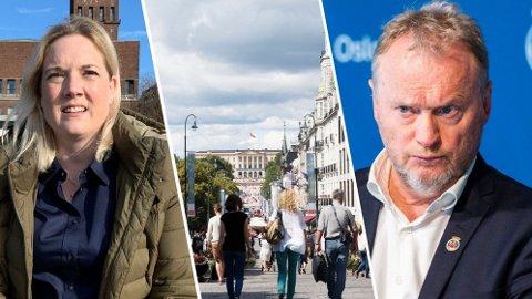 FARSE: Bystyrepolitiker Aina Stenersen (Frp) mener at stengte Oslo-butikker begynner å ligne en farse. Byrådsleder Raymond Johansen (Ap) er ikke enig.
