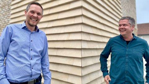 VOKSER: Helge Bjorland (til venstre) og Jan Kristiansen er to av fire gründere i kunstig intelligens-selskapet Globus AI.
