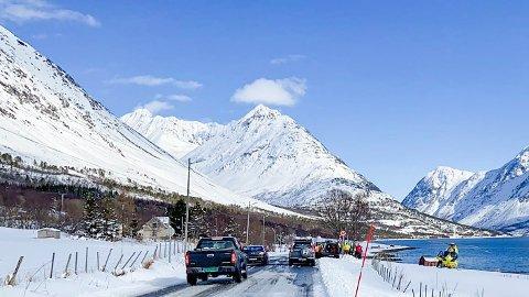 Både helikoptre og andre ressurser på plass i området der to personer er bekreftet omkommet i et snøskred i Lyngen i Troms. Foto: Elvira Kolsing/Nordlys / NTB