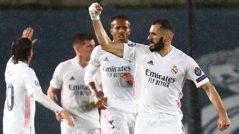 Karim Benzema jubler etter å ha scoret 1-1målet mot Chelsea påEstadio Alfredo Di Stefano i forrige uke.