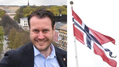NEI TAKK: Frps Helge André Njåstad erklærer fra taket på Stortinget at det er feil å liberalisere flaggloven.