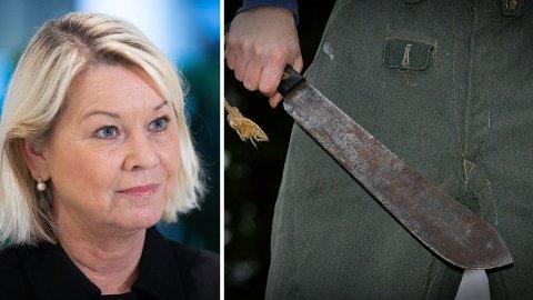 Justisminister Monica Mæland kommer nå med et lenge etterspurt forbud mot machete.