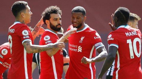 Mo Salah jubler sammen med lagkameratene etter 1-0-scoringen mot Newcastle i forrige serierunde.