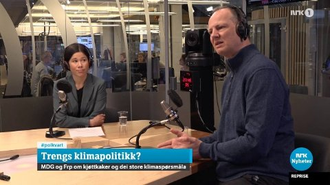 KJØTTKAKER: Miljø- og samferdselsbyråd Lan Marie Berg (MDG) i Oslo og Frp-nestleder Ketil Solvik-Olsen barket sammen til debatt om Nettavisens sak om kjøttkaker til eldre i Politisk kvarter på NRK mandag.