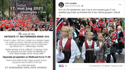 På Facebook sirkulerer nå invitasjoner til 17. mai-tog både i Oslo og Bergen, til tross for at de lokale koronaforskriftene sier at det er ulovlig å samle mer enn henholdsvis ti og tjue personer av gangen.