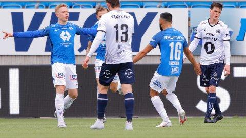 Ola Brynhildsen scoret ett av målene da Molde slo Kristiansund 2-0 hjemme i seriepremieren på Aker Stadion søndag kveld.