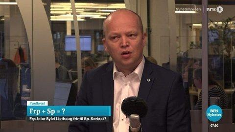 KLAR TALE: Trygve Slagsvold Vedum svarte klart og tydelig til Sylvi Listhaug på politisk kvarter.