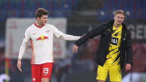 FRA START: Både Alexander Sørloth og Erling Braut Haaland spiller fra start i den tyske cupfinalen.