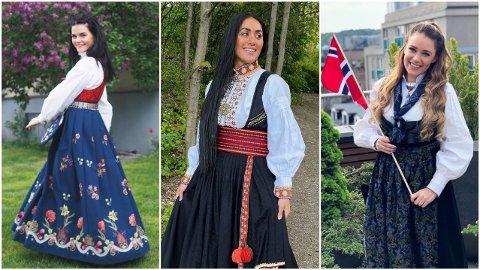 FESTKLARE: Ulrikke Brandstorp, Vita Mashadi og Ida Fladen er alle klare for å feire nasjonaldagen 17.mai.