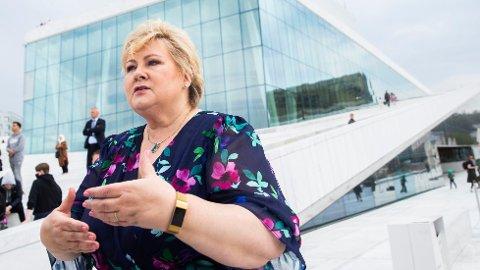 Statsminister og Høyre-leder Erna Solberg satser på «hashtag helheten» i valgkampen. Her er hun på operataket i Oslo i forbindelse med partiets digitale landsmøte denne helgen.
