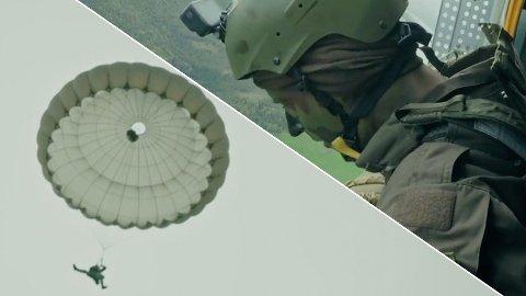 FÅR PROBLEMER: Carl Martin Eggesbø må tvinne seg ut av en floke flere hundre meter over bakken. Han var imidlertid ikke alene om å få problemer med fallskjermhoppet lørdag kveld.