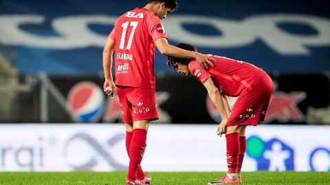 Branns Filip Delaveris og Kasper Skaanes depper etter tapet mot Rosenborg på Lerkendal.