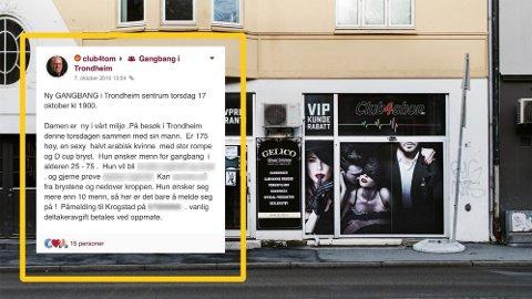 SALG AV SEX: I kjelleren på denne butikken i Innherredsveien i Trondheim betalte menn for å delta på «gangbang». Butikken holdt til like i utkanten av sentrum, rett ved det populære utestedsområdet Solsiden. Det innfelte bildet viser hvordan ett av sextreffene ble annonsert.