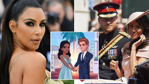 LEGGER SEG FLAT: Skaperne bak Kim Kardashians Mobilspill, «Kim Kardashian: Hollywood», har trukket sin siste historie - som hadde flere likheter til Harry og Meghans liv.