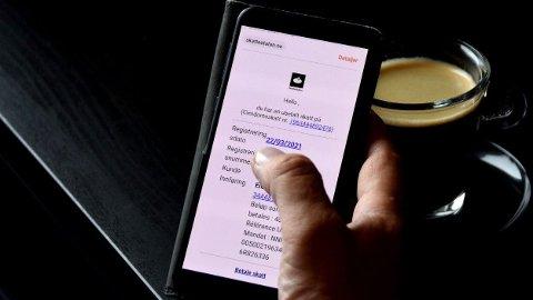 SVINDELFORSØK: Svindlere sender nå ut meldinger med lenker, hvor det ser ut til at du har ubetalt eiendomsskatt. Svindlerne utgir seg for å være fra Skatteetaten.